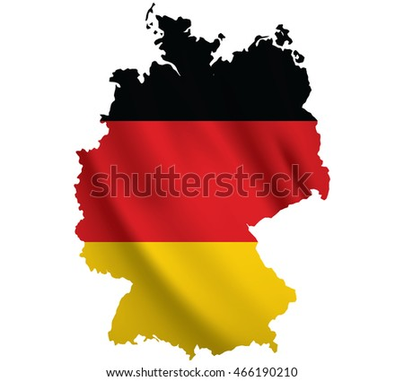 Waving Fabric Flag Map of Germany