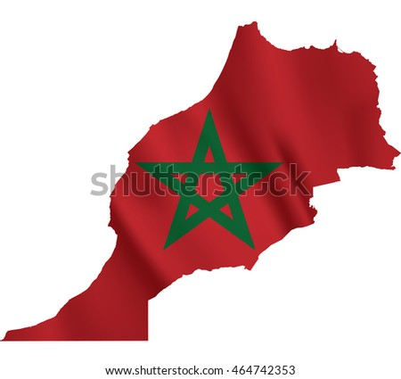 Waving Fabric Flag Map of Morocco