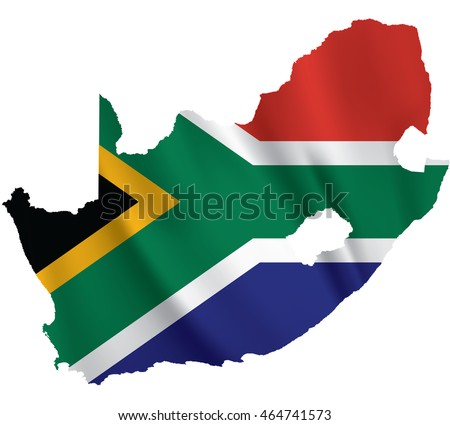 Waving Fabric Flag Map of South Africa