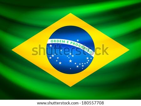 Waving fabric flag of Brazil, vector background illustration - stock vector