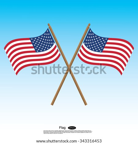 Waving Flag of America with Blue background.