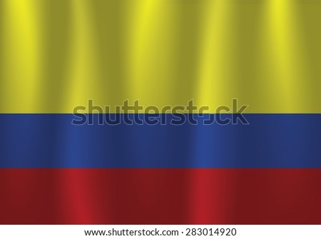 Waving flag of Columbia, vector, satin - stock vector