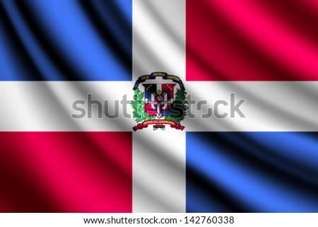 Waving flag of Dominican Republic, vector - stock vector
