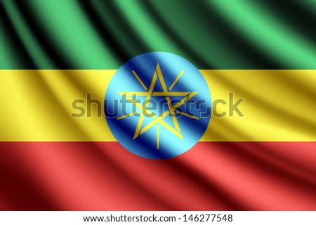 Waving flag of Ethiopia, vector - stock vector