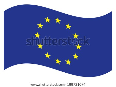 Waving flag of European Union isolated. Vector EPS 8