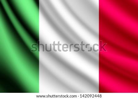 Waving flag of Italy, vector - stock vector