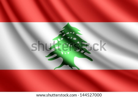 Waving flag of Lebanon, vector - stock vector