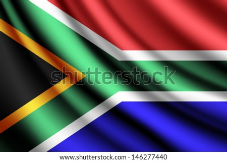 Waving flag of South Africa, vector