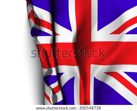 Waving flag of UK - United Kingdom. Vector illustration - stock vector