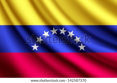 Waving flag of Venezuela, vector - stock vector