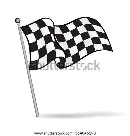 Waving flag with checkered Black & White racing Pattern, motor sport element, Vector Illustration - stock vector