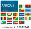 "Waving Flags of African Countries - Part 1. Design ""Waves & Borders"". One of the Flags of the World series. - stock photo"