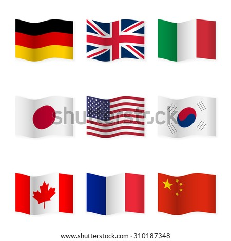 Waving flags of different countries. Flag icons on white background. Vector content. 3D waving position with shadow. Each flag is isolated on its own layer with the proper name. Set 1. - stock vector