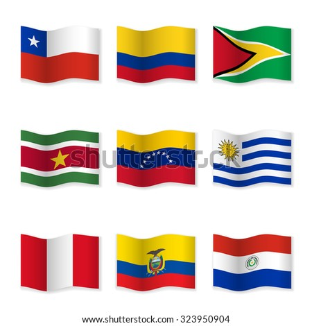 Waving flags of different countries. Flag icons on white background. Vector content. 3D waving position with shadow. Each flag is isolated on its own layer with the proper name. Set 11. - stock vector