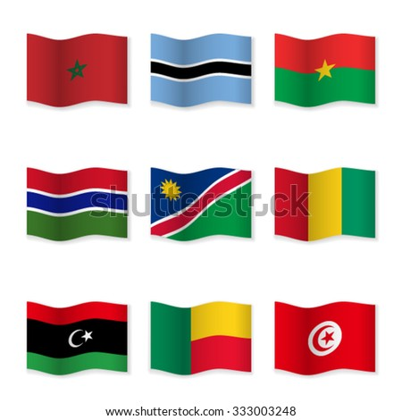 Waving flags of different countries. Flag icons on white background. Vector content. 3D waving position with shadow. Each flag is isolated on its own layer with the proper name. Set 13