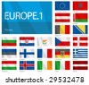 "Waving Flags of European Countries - Part 1. Design ""Waves"". One of the World Flags series. - stock photo"