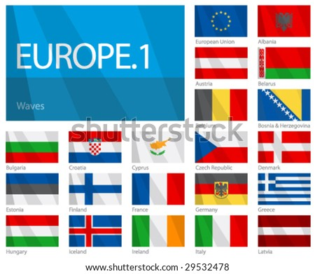"Waving Flags of European Countries - Part 1. Design ""Waves"". One of the World Flags series. - stock vector"