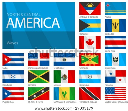 "Waving Flags of North & Central American Countries. Design ""Waves & No Borders"". Shadows (waving design) can be easily removed from vector file if needed. - stock vector"