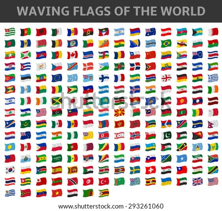 waving flags of the world - stock vector