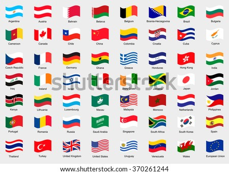 Waving flags of the world. Collection of flags. - stock vector