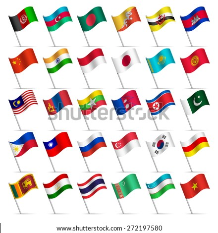 Waving Flags of the world, part 3/6 Asia  - stock vector