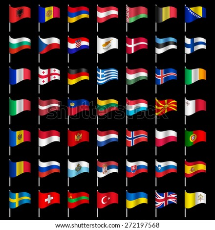 Waving Flags of the world, part 2/6 Europe Dynamic - stock vector
