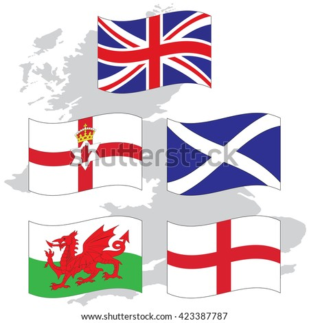 Waving Flags United Kingdom collection  and national emblems of England Northern Ireland Wales Scotland