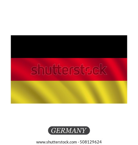 Waving Germany flag on a white background. Vector illustration