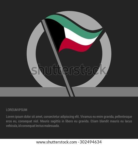 Waving Kuwait Flag badge design - independence day Label - Vector illustration - stock vector