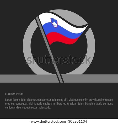 Waving Slovenia Flag badge design - independence day Label - Vector illustration