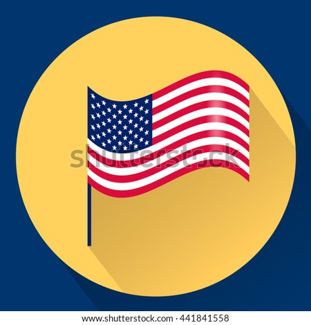 Waving USA flag. Vector Illustration. Stripes and stars. Flat