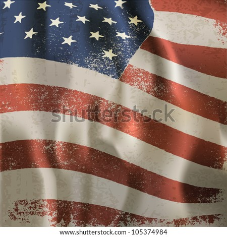 Waving vintage American flag textured background. Vector, EPS10 - stock vector