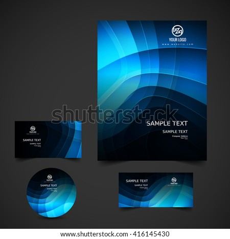 Wavy blue business stationery - stock vector