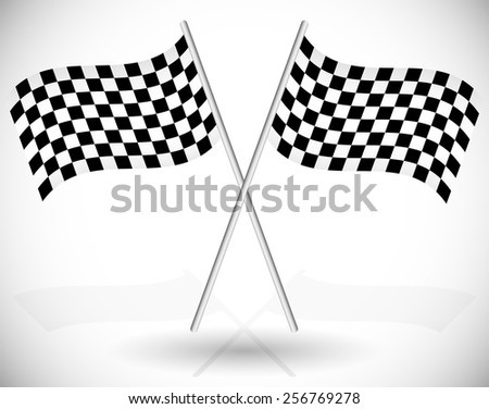 Wavy Checkered Racing Flags Crossed - stock vector