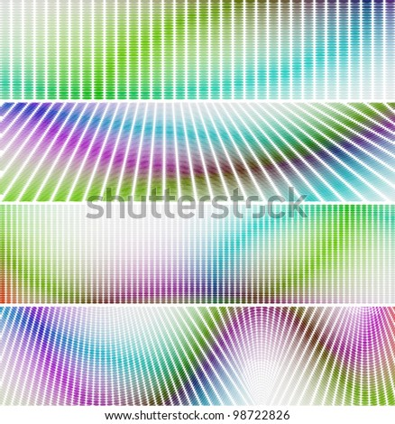 wavy colors mosaic banner & background set (No Transparency)