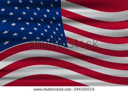 Wavy flag of United States of America/vector illustration