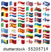 Wavy flags set - Europe. 48 Vector flags. - stock