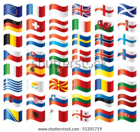 Wavy flags set - Europe. 48 Vector flags.