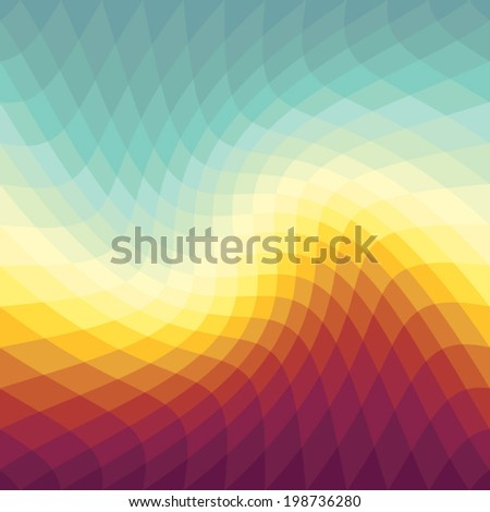 Wavy Gradient spectrum background with Sunset colors - stock vector