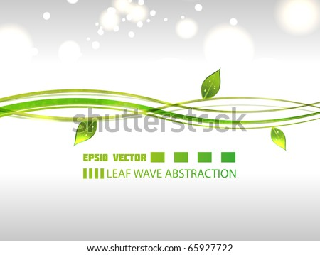 Wavy leaf abstraction on gray background with blurry particles for your design. - stock vector