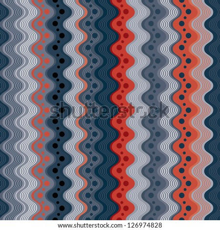 Wavy lines and dots seamless pattern, vertical vector background. - stock vector