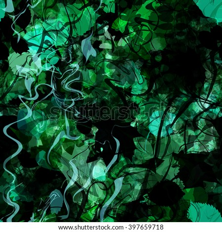 Wavy lines and painted silhouettes of leaves. Green, black. Abstract seamless background. Easy editable pattern. Vector. - stock vector