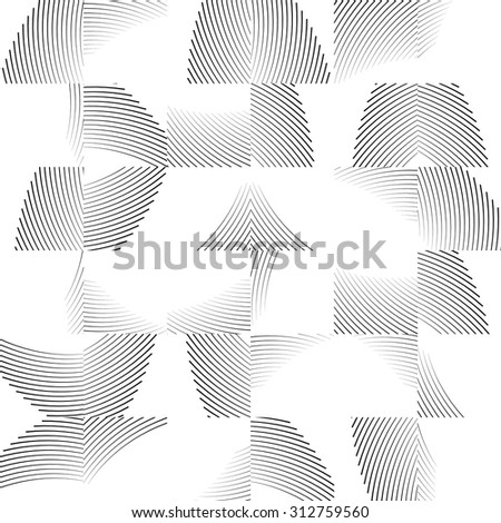 Wavy lines repeatable pattern. Black and white seamless background. Vector illustration. - stock vector