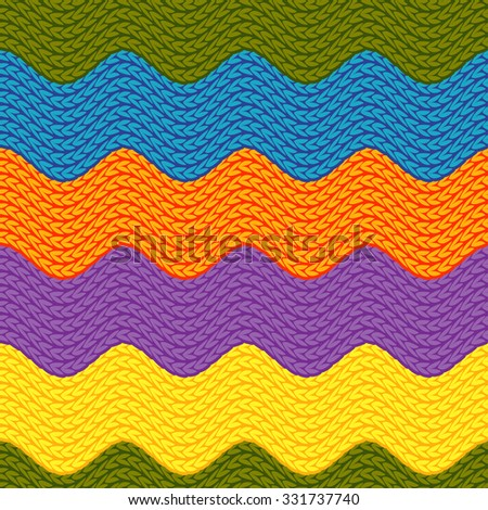 Wavy Multicolored Knitting Seamless Pattern Rustic Stock Vector