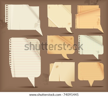 Wavy paper speech bubbles -rectangular - stock vector