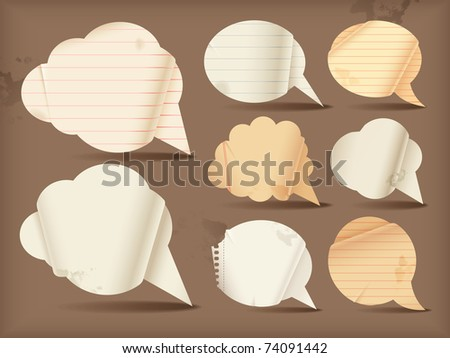 Wavy paper speech bubbles - round - stock vector