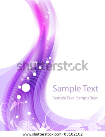 Wavy purple background with abstract floral pattern - stock vector