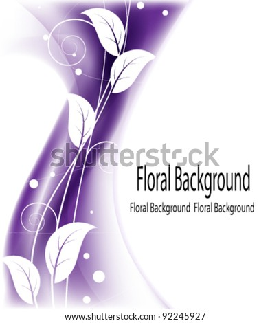 Wavy purple background with floral pattern - stock vector