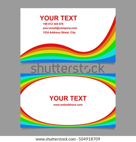 Wavy rainbow colored business card template stock vector hd royalty wavy rainbow colored business card template set reheart Choice Image