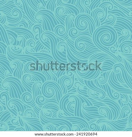 Wavy seamless pattern. Hand drawn curly background. Modern wallpaper. Sea waves. Vector illustration. - stock vector